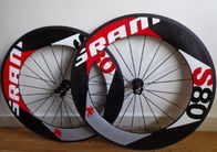 China Disc Carbon Track Bike Wheelset , Tubular Clincher Carbon Fiber Road Bike Rims 700c company