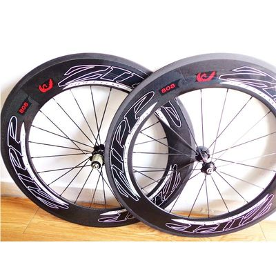 Classic 88mm Carbon Road Bike Wheels , Road 700c Carbon Clincher Wheelset 808 With Areo Spokes