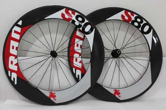 Custom Road Bike Front Wheel , Carbon Rear Wheel 700c 20 / 24 Spokes S80 Clincher